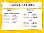 search schedule