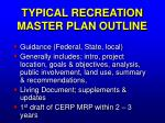 typical recreation master plan outline