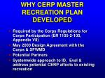 why cerp master recreation plan developed