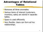 advantages of relational tables