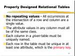 properly designed relational tables