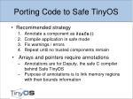 porting code to safe tinyos
