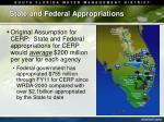 state and federal appropriations