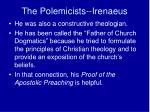 the polemicists irenaeus3