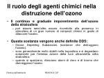 il ruolo degli agenti chimici nella distruzione dell ozono