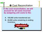 cost reconciliation