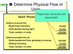 determine physical flow of units1
