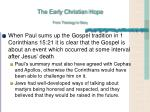 the early christian hope from theology to story3