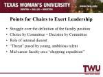 points for chairs to exert leadership