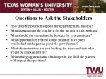 questions to ask the stakeholders