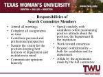 responsibilities of search committee members