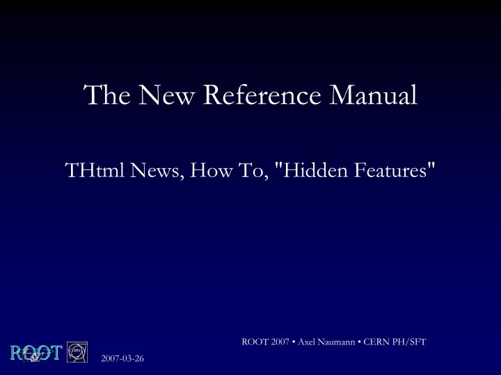 the new reference manual n.