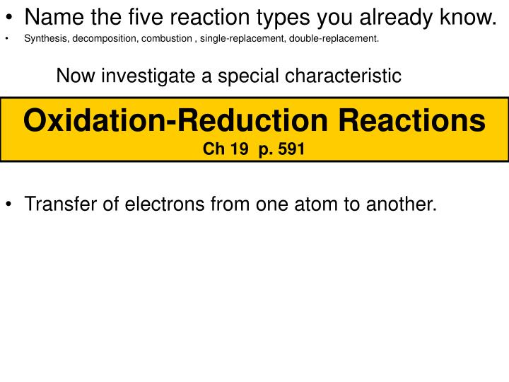 oxidation reduction reactions ch 19 p 591 n.