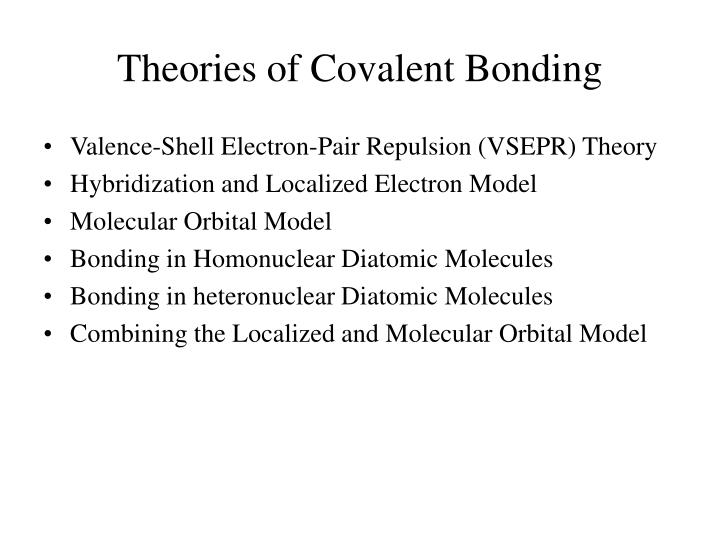 theories of covalent bonding n.