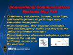 conventional communications systems may fail