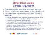 other rcd duties contest registration