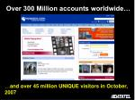 over 300 million accounts worldwide