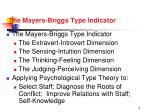 the mayers briggs type indicator