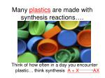 many plastics are made with synthesis reactions
