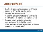 learner provision
