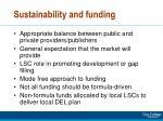sustainability and funding