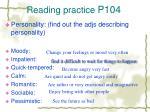 reading practice p104