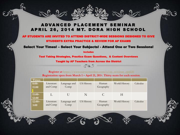 advanced placement seminar april 26 2014 mt dora high school n.