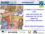 curriculum design and recognition of periods of study abroad ects procedures maria sticchi damiani
