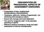 organization or procedural aspects of assessment exercises