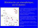 r tention des gaz atmosph riques pas les plan tes