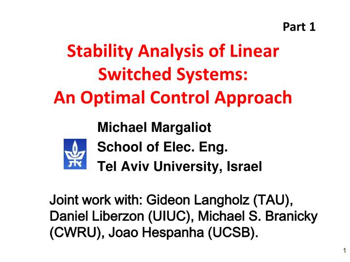stability analysis of linear switched systems an optimal control approach n.