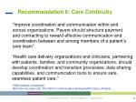 recommandation 6 care continuity