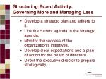 structuring board activity governing more and managing less