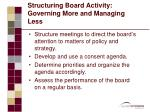 structuring board activity governing more and managing less1