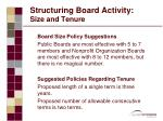structuring board activity size and tenure