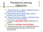 procedural learning objectives
