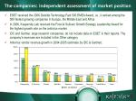 the companies independent assessment of market position