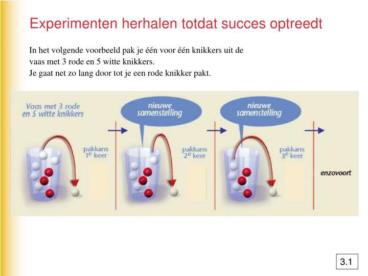 Experimenten herhalen totdat succes optreedt