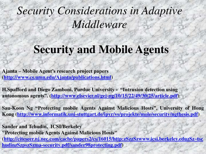 security considerations in adaptive middleware n.