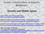 security considerations in adaptive middleware