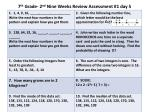 7 th grade 2 nd nine weeks review assessment 1 day 5