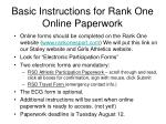 basic instructions for rank one online paperwork