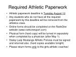 required athletic paperwork