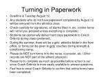 turning in paperwork