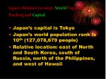 japan s relative location world population ranking and capital