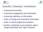 benefits learning orientation