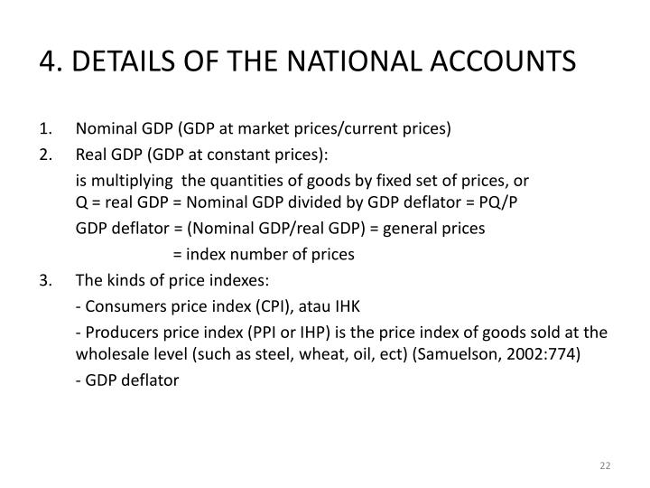 4. DETAILS OF THE NATIONAL ACCOUNTS
