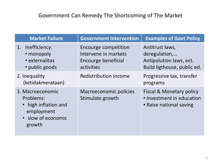 Government Can Remedy The Shortcoming of The Market
