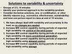 solutions to variability uncertainty