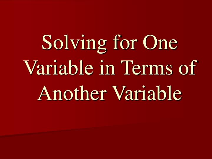 solving for one variable in terms of another variable n.